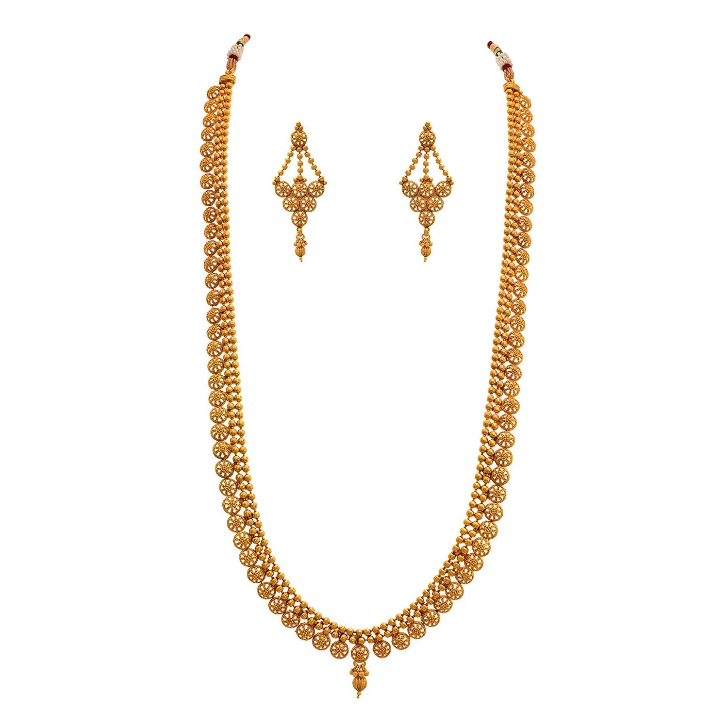 Jfl - Jewellery for Less Traditional Ethnic One Gram Gold Plated  Long Necklace Set for Women