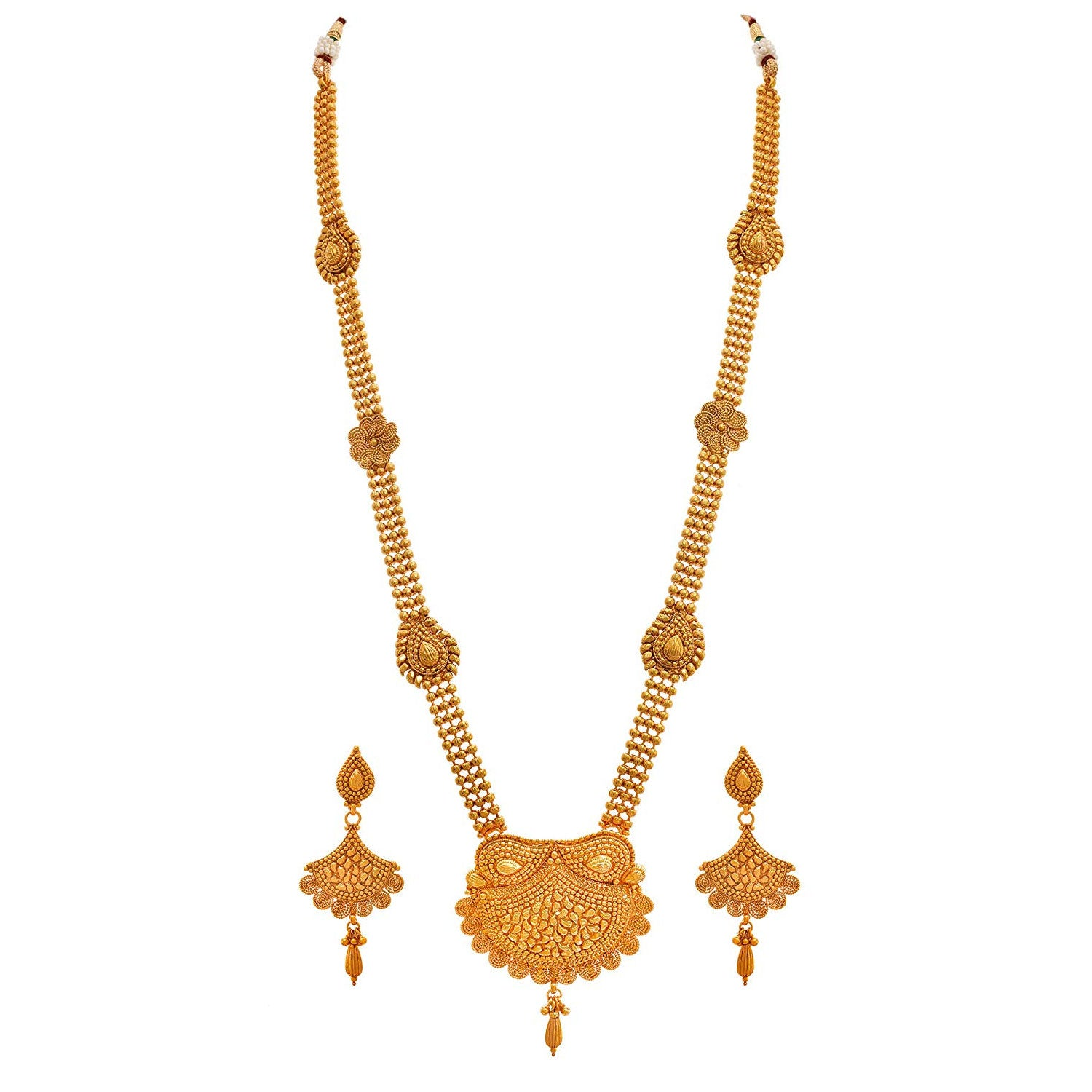JFL - Traditional Ethnic One Gram Gold Plated Designer Long Necklace Set for Women.