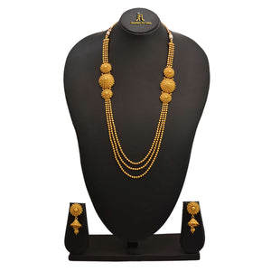 JFL - Traditional Ethnic One Gram Gold Plated Gold Bead Multi Strand Designer Long Necklace Set with Earring for Women and Girls.