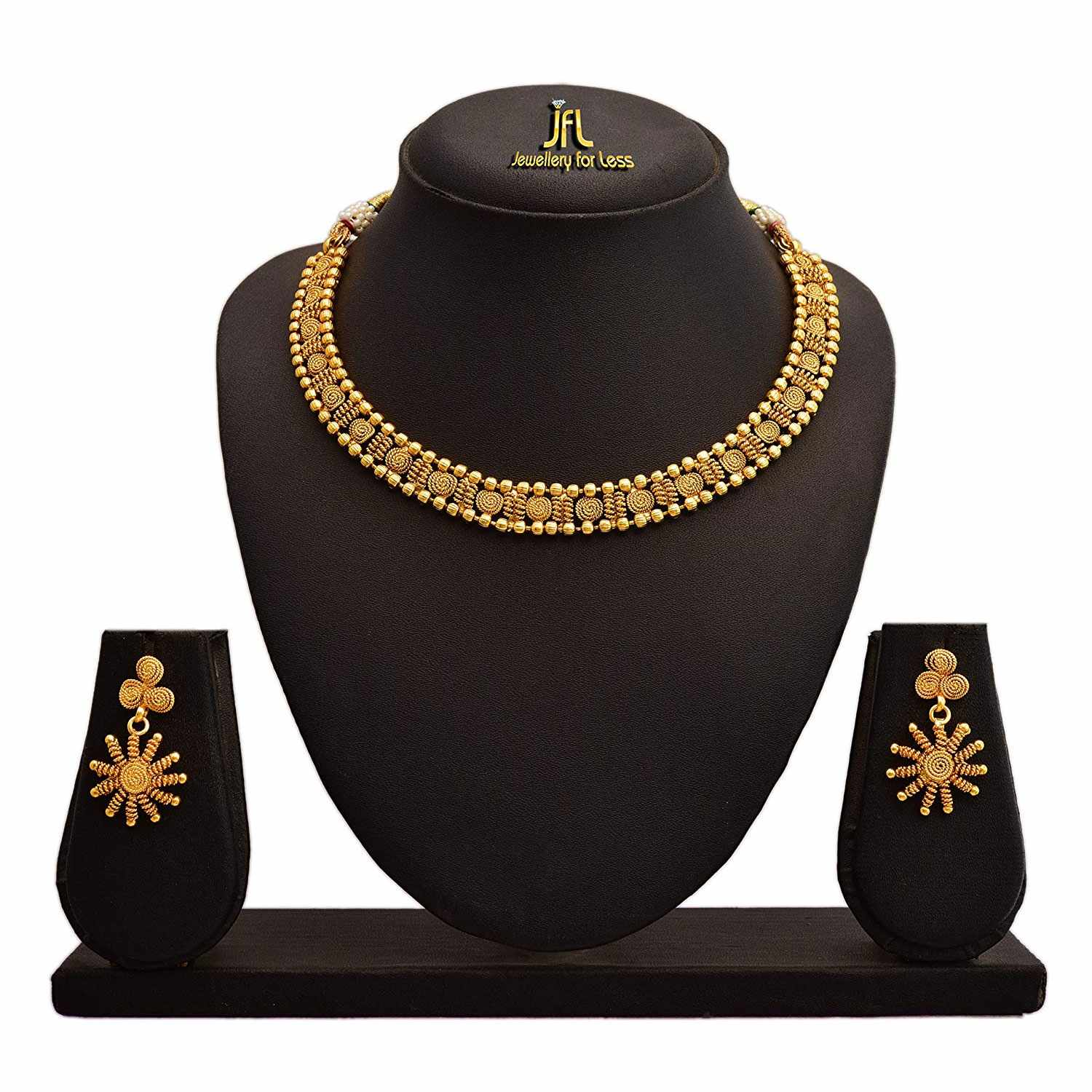 JFL - Traditional Ethnic One Gram Gold Plated Spiral Designer Necklace Set for Women.