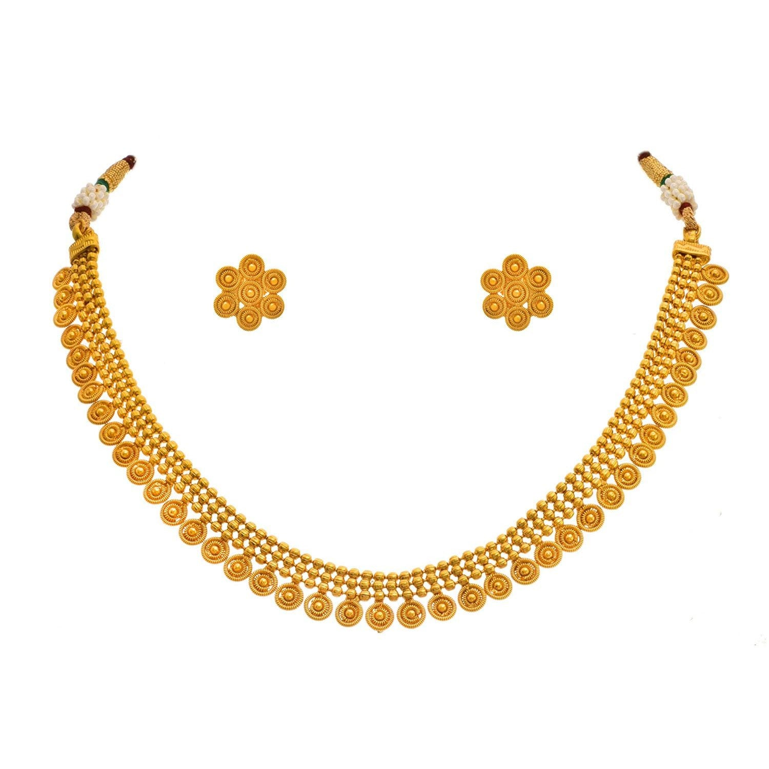 JFL - Traditional Ethnic One Gram Gold Plated Designer Necklace Set for Women.