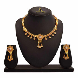 JFL - Traditional Ethnic One Gram Gold Plated Polki Diamond Spiral Designer Necklace Set with Earring for Women and Girls.