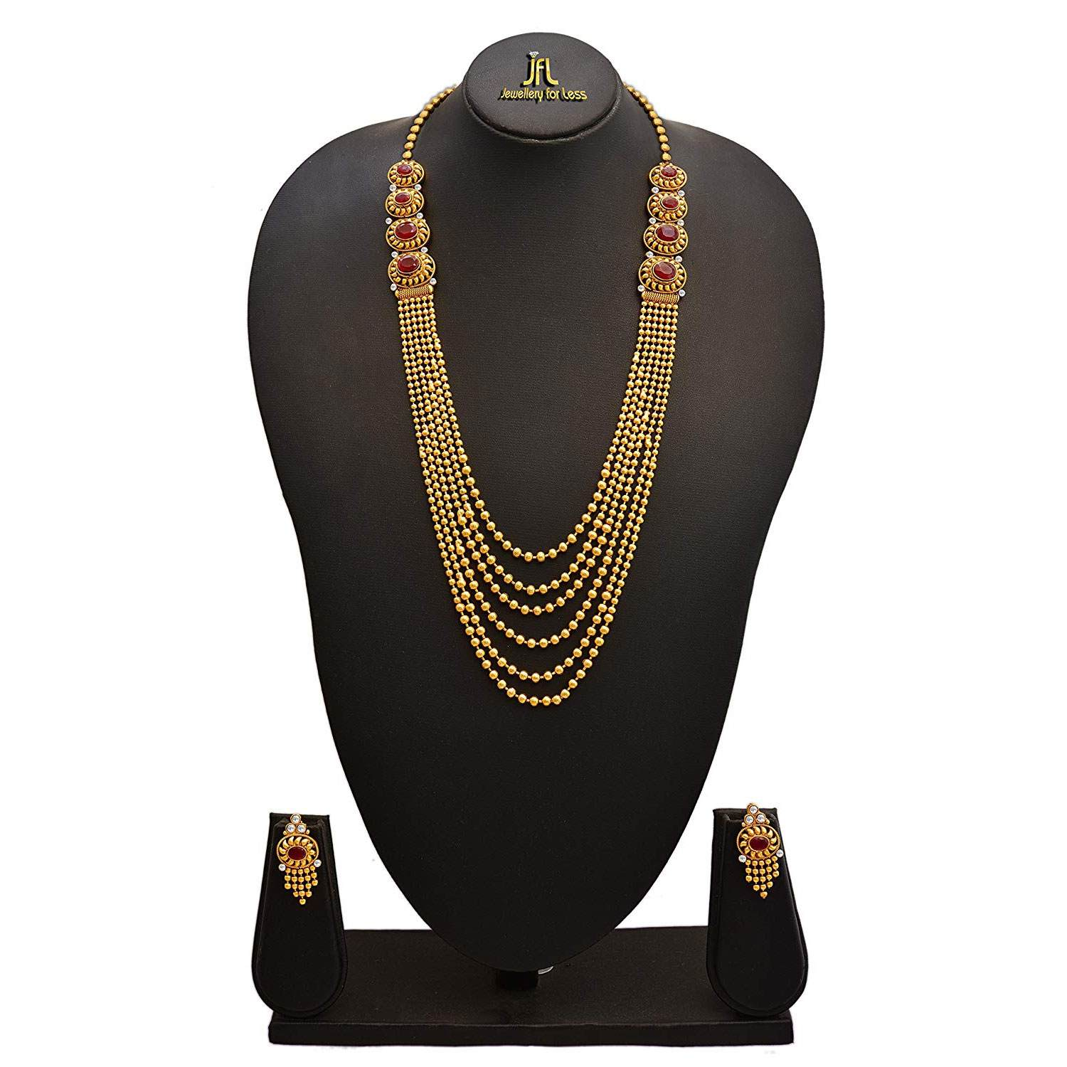 JFL -Traditional Ethnic One Gram Gold Plated Multi Strands Round Gold Bead Stone Champagne Diamond Designer Necklace With Earrings Set For Women & Girls.