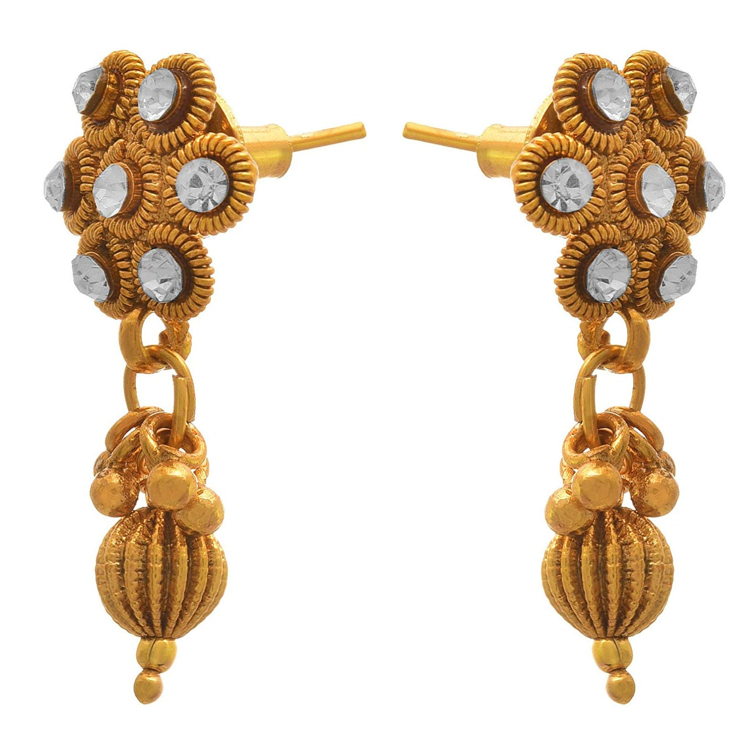 JFL-Traditional Ethnic One Gram Gold Plated Pearls & Diamond Necklace Set With Earring For Women & Girls.