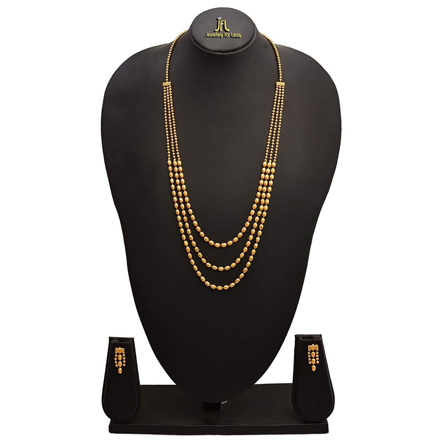 JFL - Traditional Ethnic One Gram Gold Plated Bead Designer Long Necklace Set with Earring for Women and Girls.