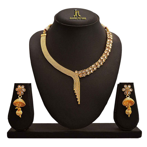 Traditional Ethnic One Gram Gold Plated Necklace Set With Earring for Women