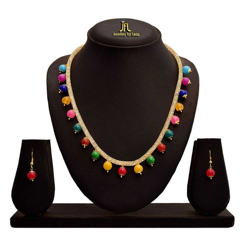 Fusion Ethnic One Gram Gold Plated Multi-Colour Bead Designer Necklace Set for Girls and Women.