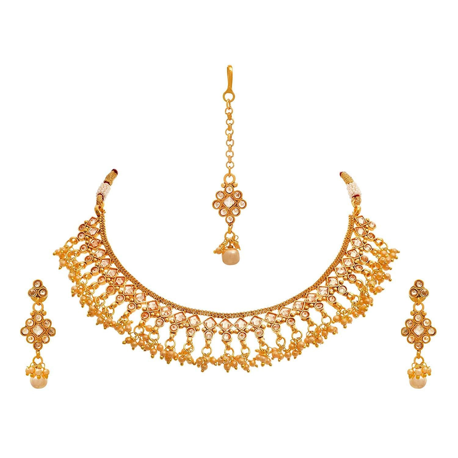 JFL - Jewellery for Less One Gram Gold Plated Champagne Diamond & Pearl Designer Necklace Set / Jewellery Set for Women