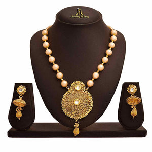 JFL - Traditional Ethnic One Gram Gold Plated Pearls Designer Long Necklace Set for Women.