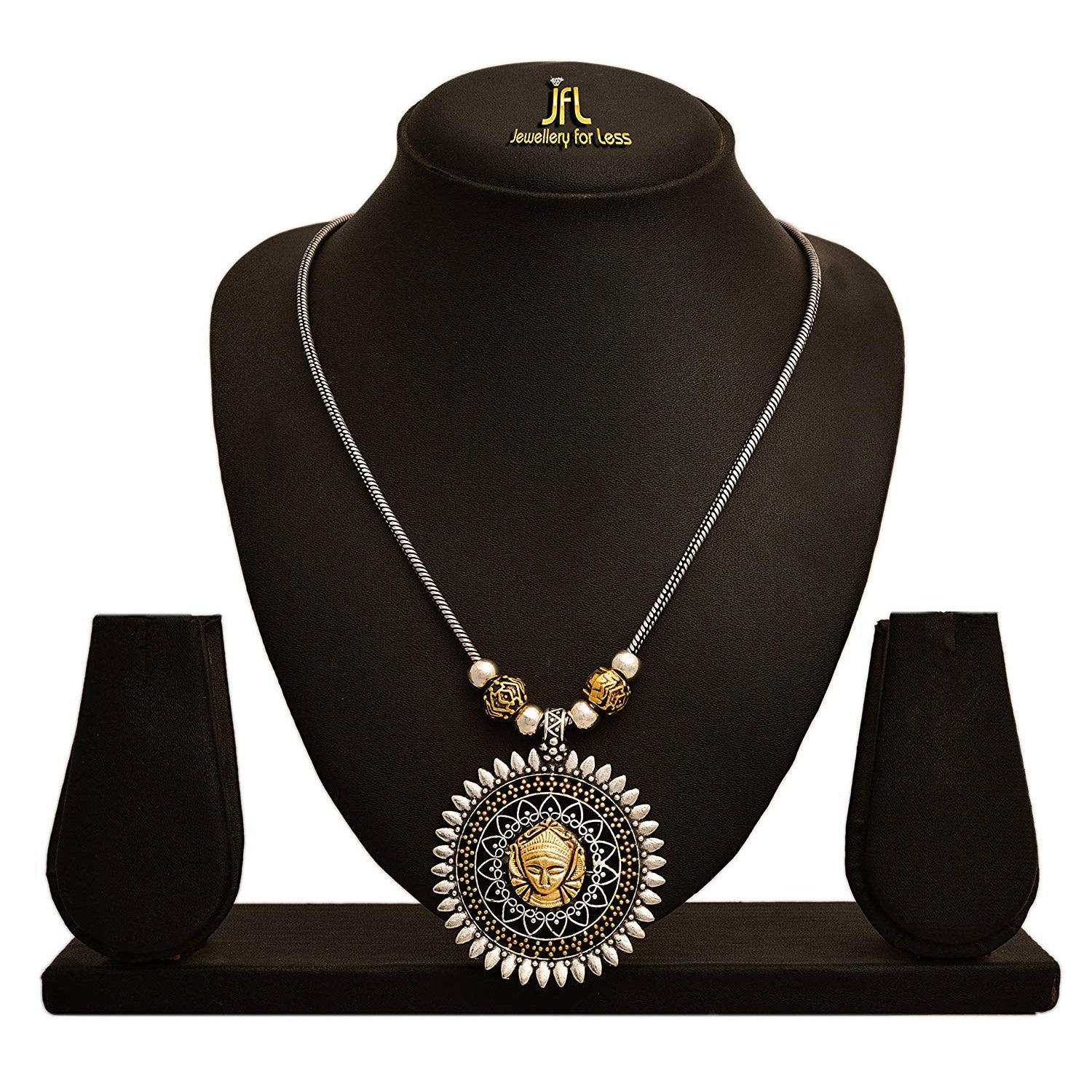 JFL -Traditional Ethnic Handmade German Silver Plated Oxidised Dual Tone with Goddess Durga Designer Necklace for Women.