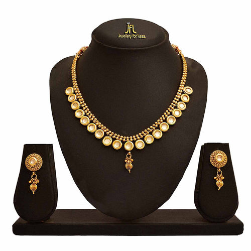 JFL- Traditional Ethnic One Gram Gold Plated Kundan Designer Necklace Set For Women.