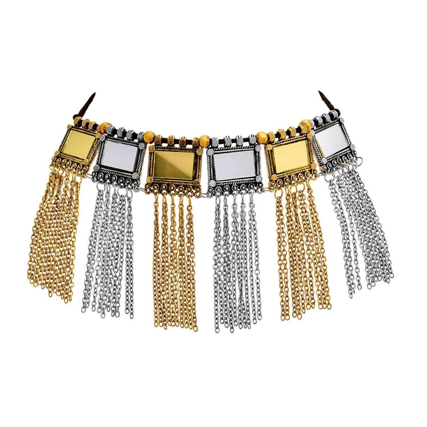 JFL -Traditional Ethnic Handmade German Silver/Gold Plated Oxidised Mirror Designer Afghani Look Choker Necklace For Women and Girls