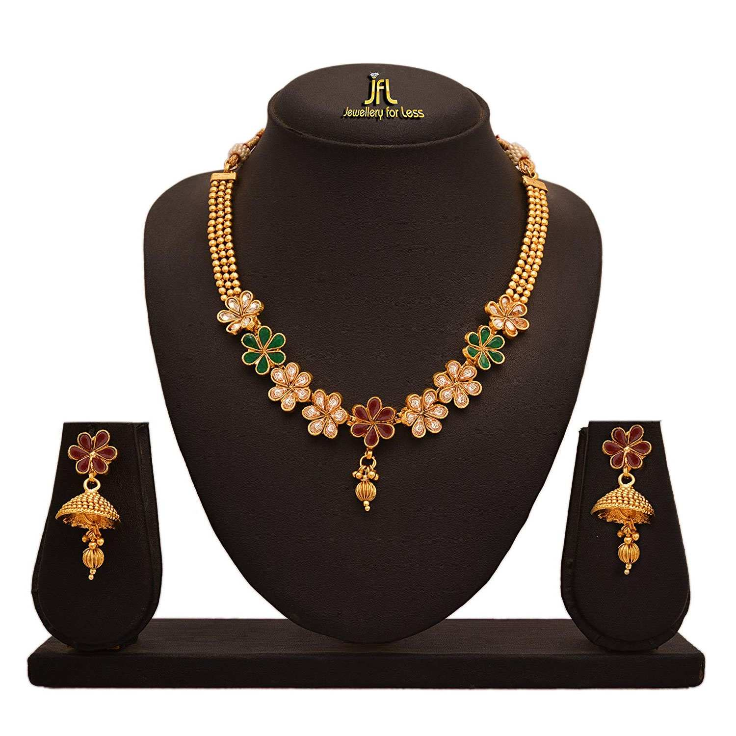 JFL - Traditional Ethnic One Gram Gold Plated Stone & Diamond Designer Necklace Set for Women.