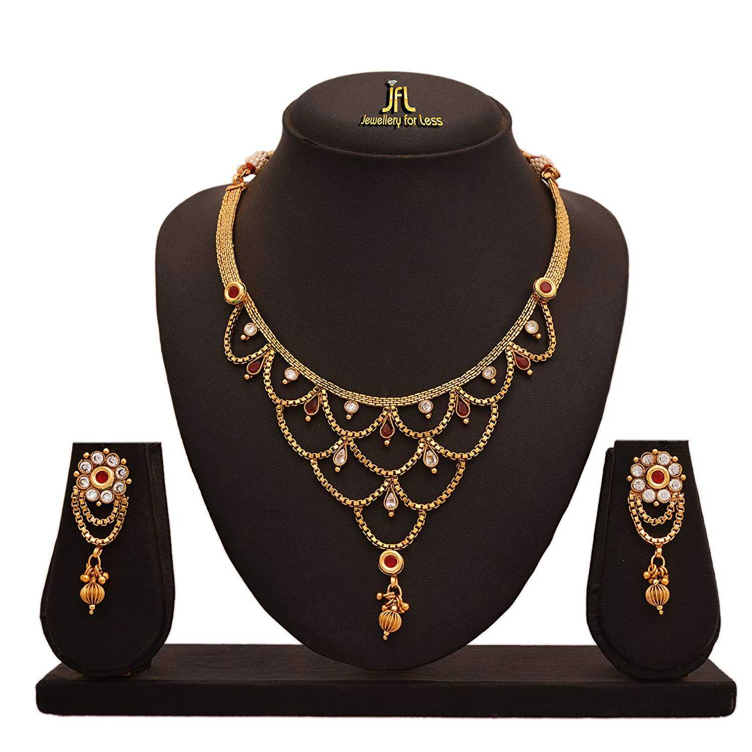 JFL - Traditional Ethnic One Gram Gold Plated Diamond With Color Stone Designer Necklace Set for Wome.