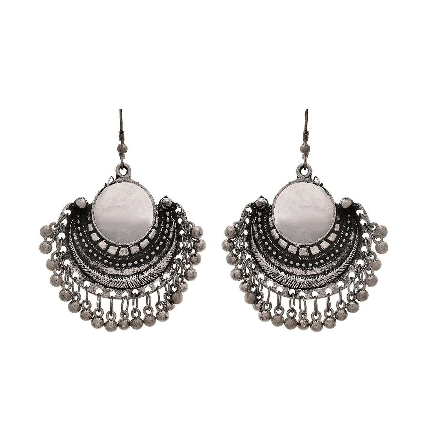 JFL -Traditional Ethnic Handmade German Silver Plated Oxidised Mirror Designer Afghani Look Necklace Set For Women.