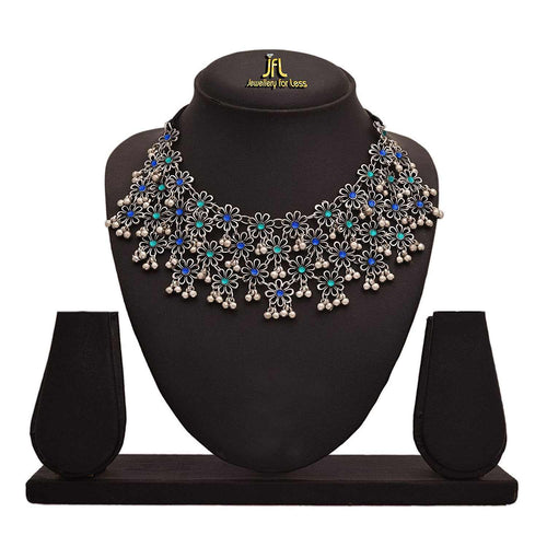 JFL-Traditional Ethnic Handmade German Silver Plated Oxidised Stone & Floral Designer Rajsthani Look Choker Necklace For Women.