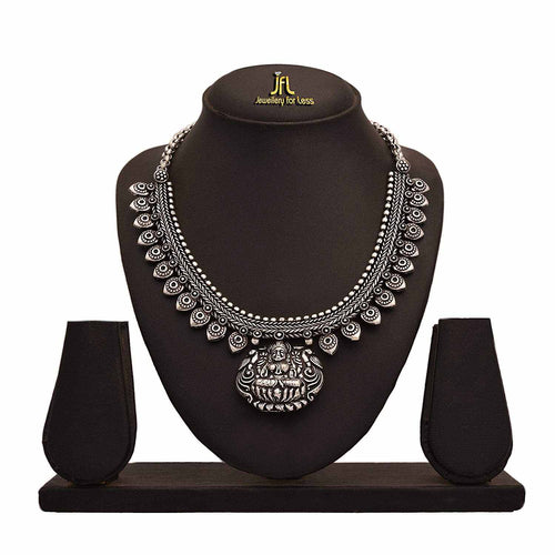 JFL- Jewellery for Less Traditional Ethnic Handmade Temple Goddess Laxmi German Silver Plated Necklace Set for Women.