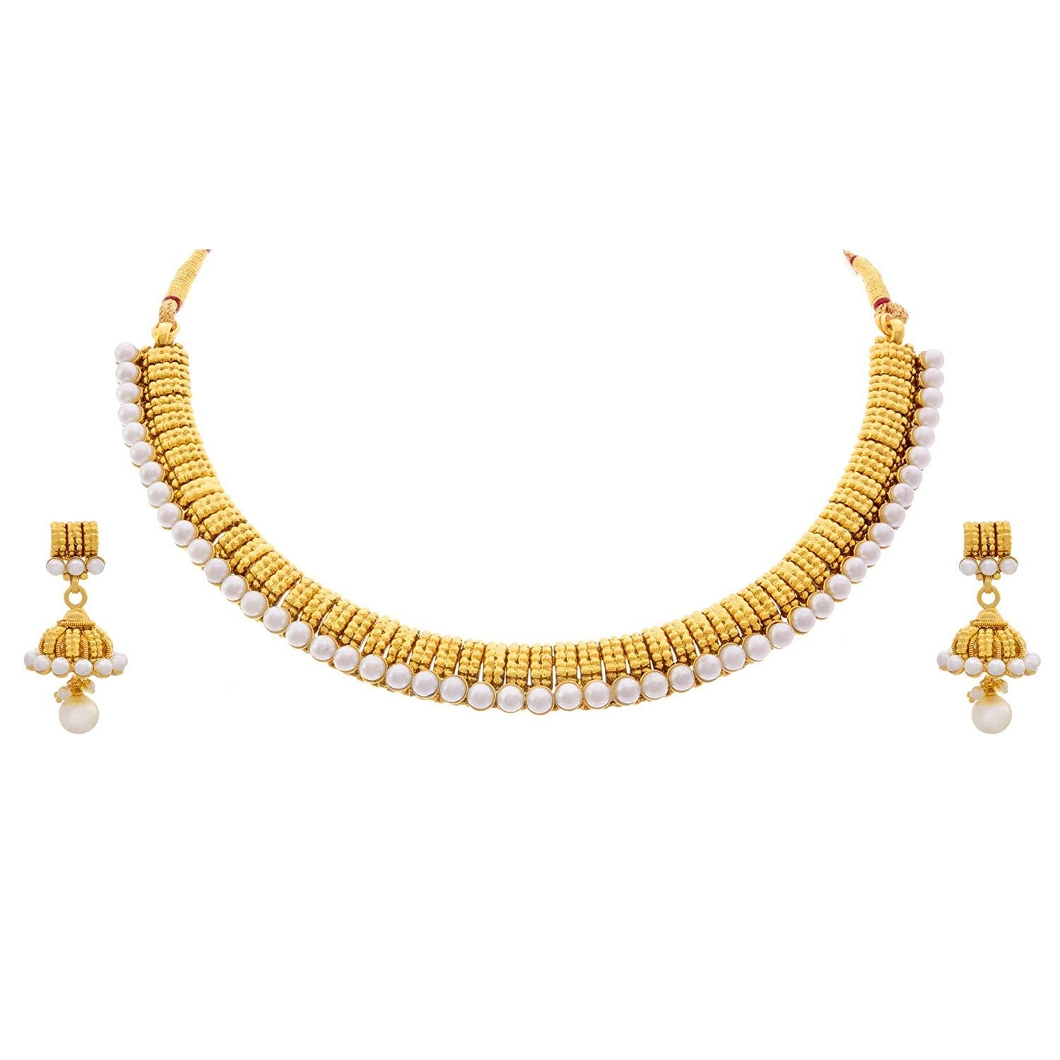 JFL - Traditional Ethnic One Gram Gold Plated Designer Necklace Set with Jhumka Earring studded with Pearls for Girls & Women.