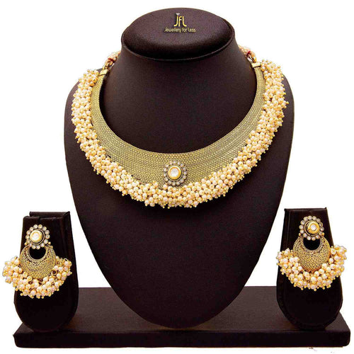 JFL - Traditional Ethnic One Gram Gold Plated Diamond & Pearl With Kundan Designer Necklace Set for Women & Girls.