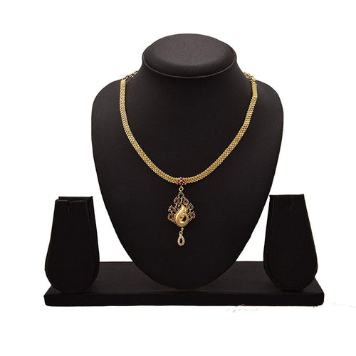 JFL - Exqusitie & Ethnic One Gram Gold Plated Red & Green Stone  Diamond Designer Peacock Necklace Set for Girls and Women.