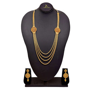 JFL-  Jewellery For Less Traditional Ethnic Multi Strand Gold Bead One Gram Gold Plated Long Necklace Set For Women
