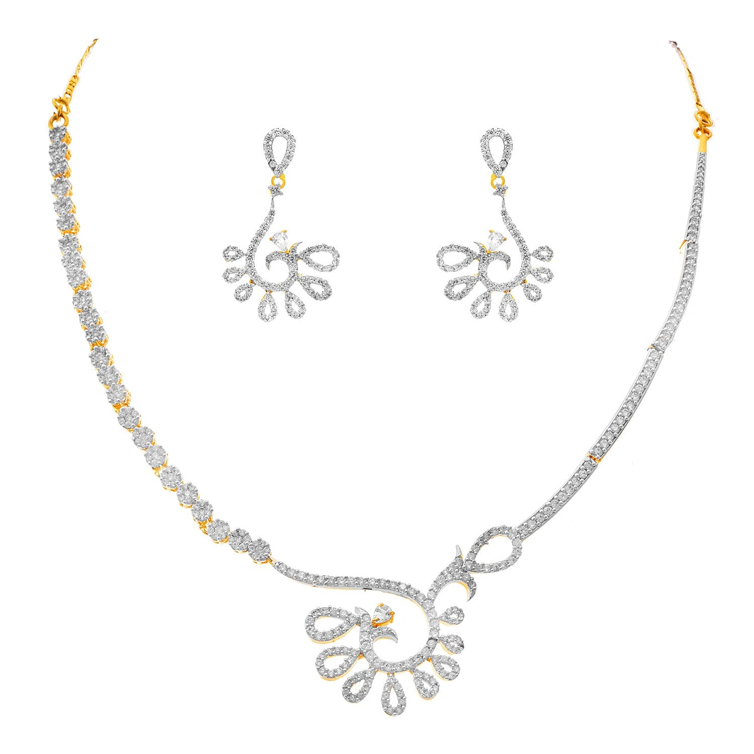 JFL - Fusion Ethnic One Gram Gold Plated White Cz American Diamond Designer Necklace Set for Women & Girls