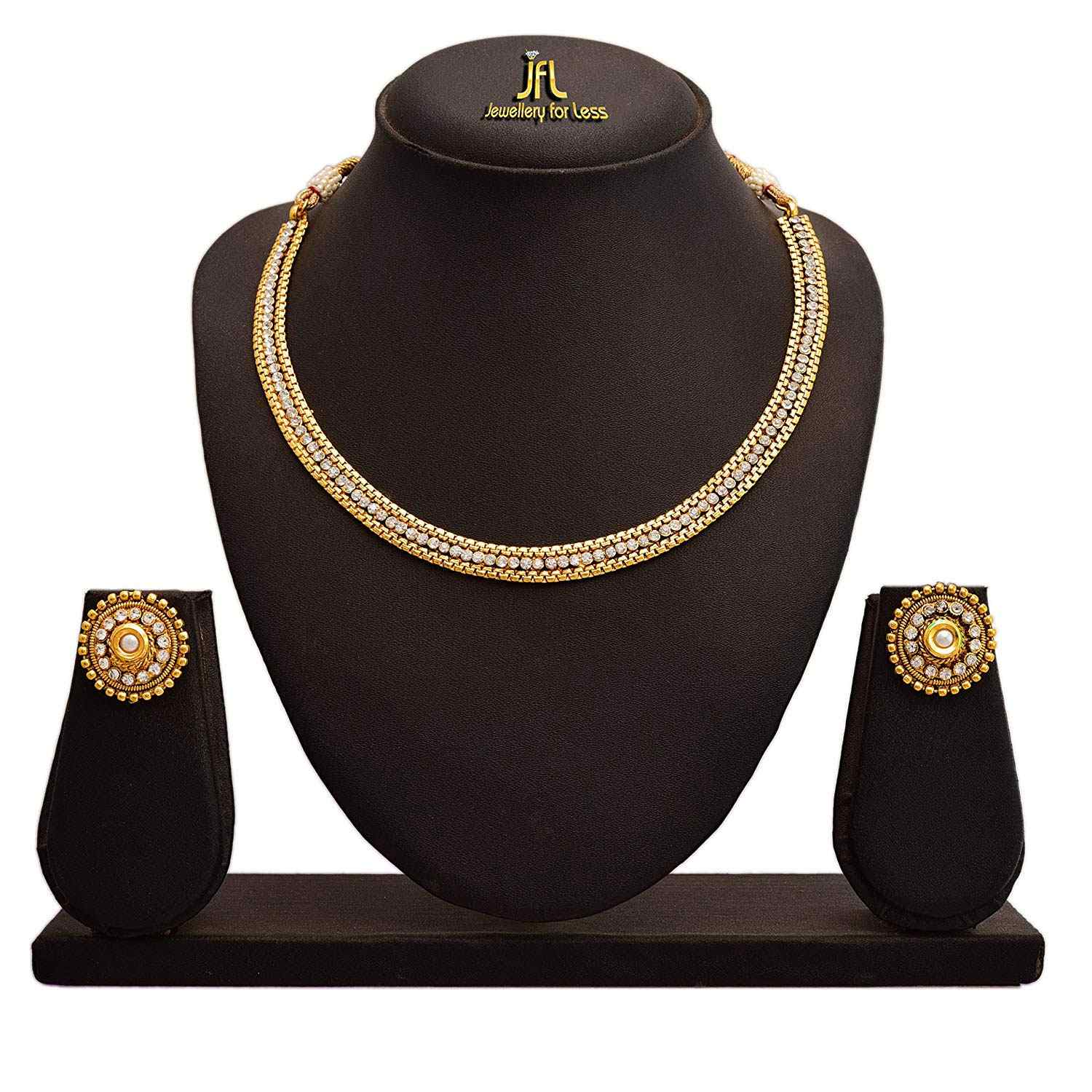 JFL - Traditional Ethnic One Gram Gold Plated Diamond Designer Necklace Set for Women.