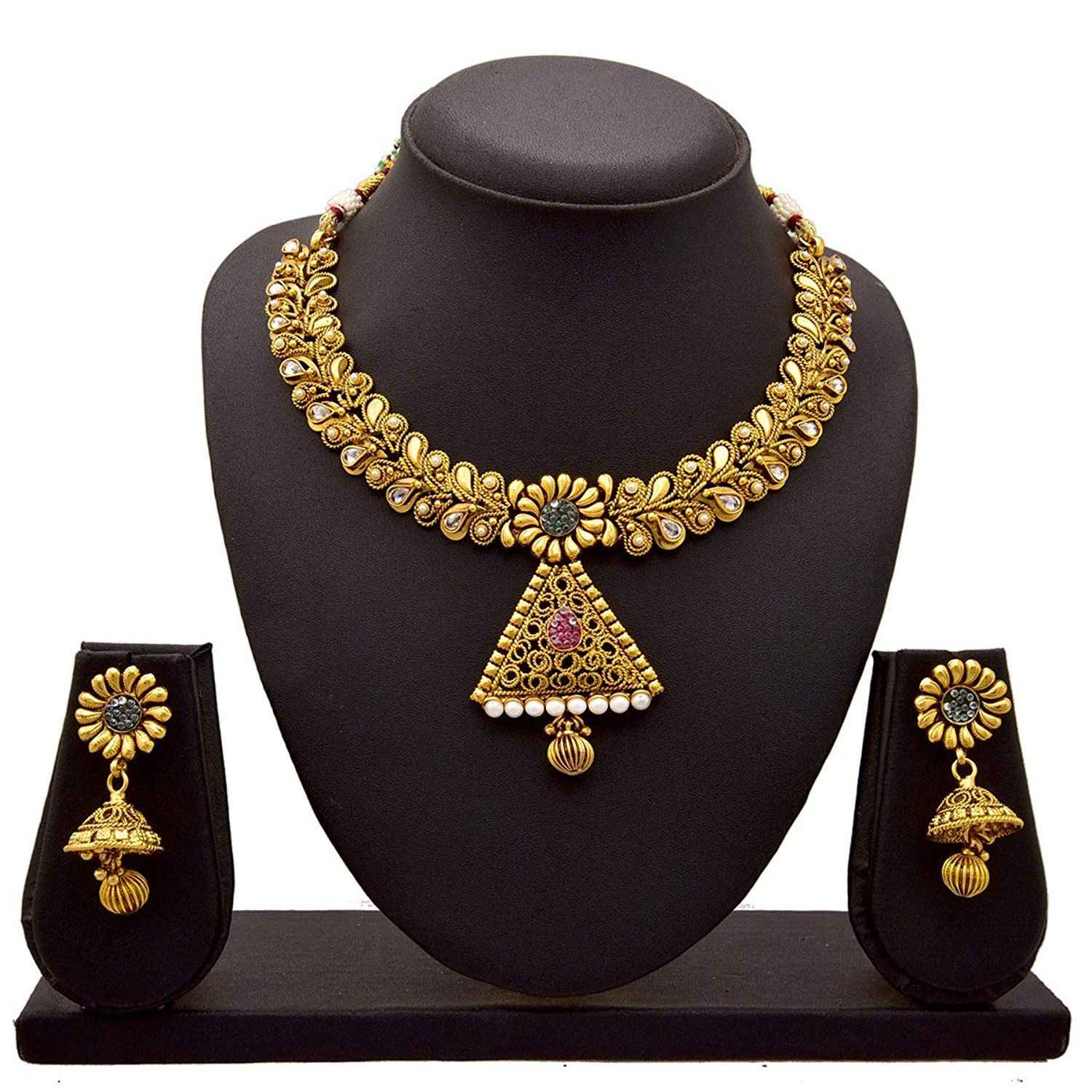JFL-Jewellery For Less Floral Flower One Gram Gold Plated Necklace Set Studded With Pink, Green Stones Diamonds For Women And Girls
