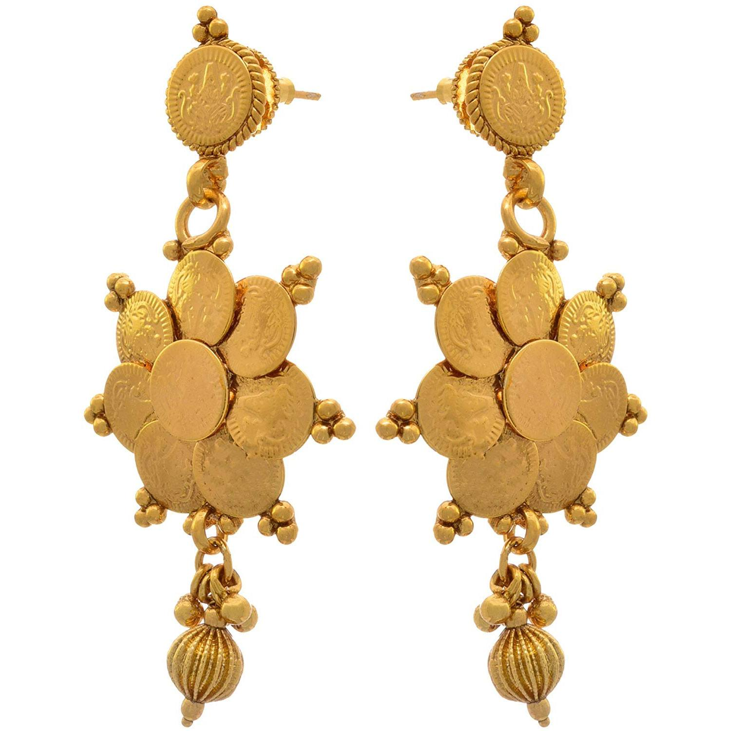 JFL - Traditional Ethnic Temple Laxmi Goddess Coin One Gram Gold Plated Designer Long Necklace Set for Women & Girls.