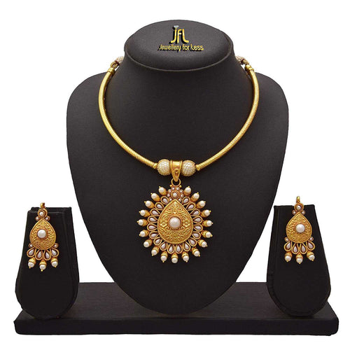 JFL -Traditional Ethnic One Gram Gold Plated Pearl Designer Gorgeous Necklace Set For Women.