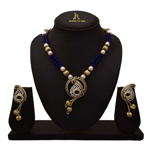 JFL - Traditional Ethnic One Gram Gold Plated Cz American Diamond Stone Pearl Designer Necklace Set for Women and Girls
