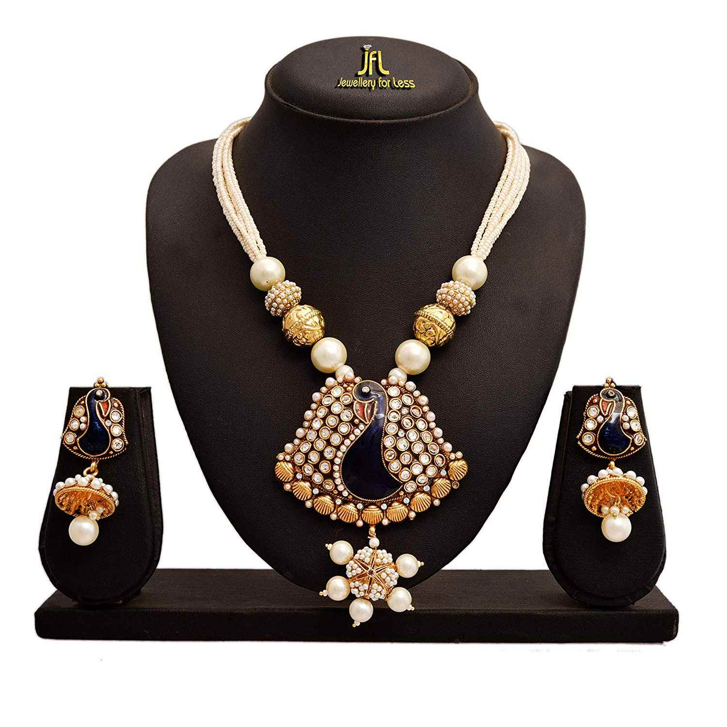 JFL - Jewellery for Less Traditional Ethnic One Gram Gold Plated Peacock Pearl Designer Necklace Set for Women and Girls