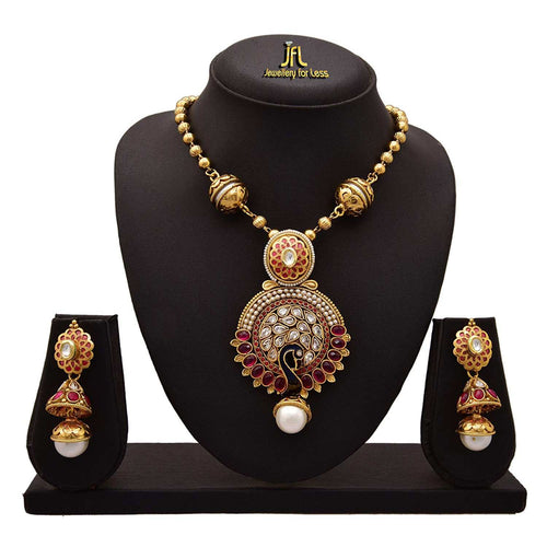 JFL-Traditional Ethnic Meenakari Diamond Peacock Kundan Pearl Red an Green Stone One Gram Gold Plated Designer Pendant Set with Jhumka Earrings for Women and Girls