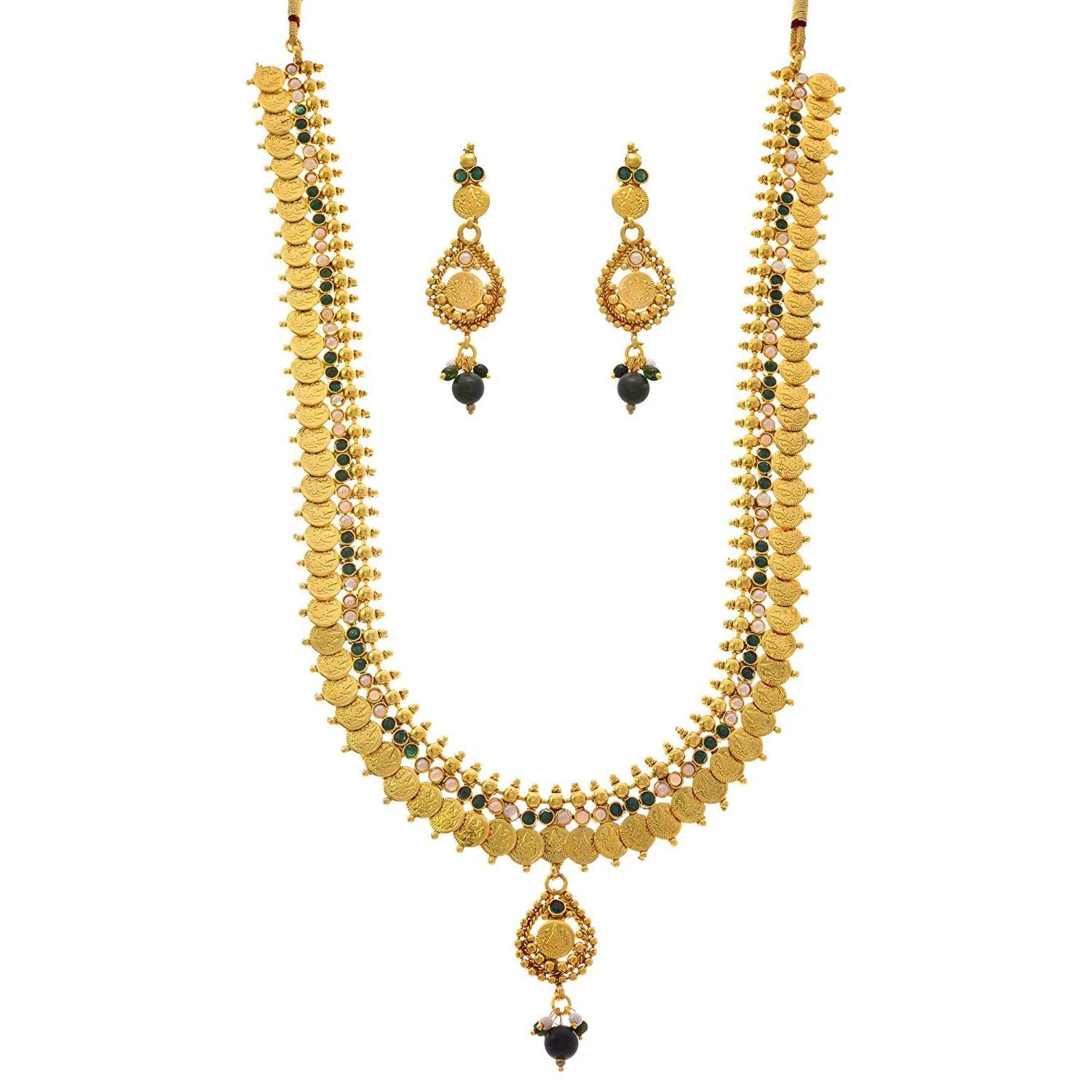 JFL - Traditional Ethnic Temple Laxmi Goddess Coin One Gram Gold Plated Stones & Pearls Designer Long Necklace Set for Women & Girls.