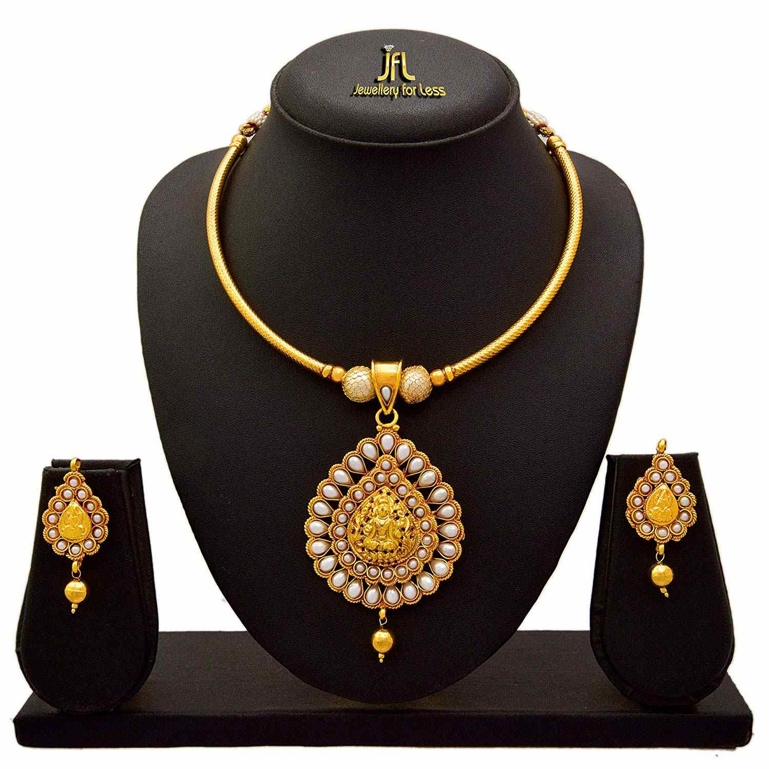 JFL - Traditional Ethnic One Gram Gold Plated Temple Goddess Laxmi Pearl Designer Necklace Set for Women.