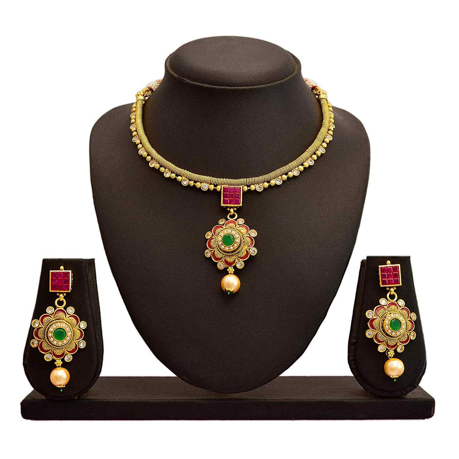 JFL - Traditional Ethnic One Gram Gold Plated Stone Pearl Meenakari Designer Necklace Set with Jhumka Earring for Girls and Women
