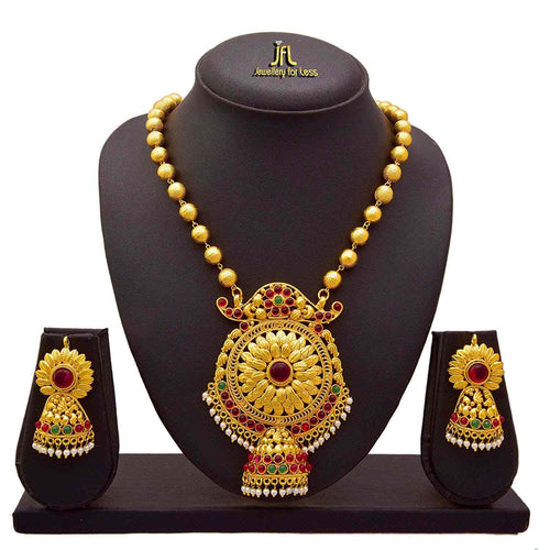 JFL -Traditional Stylish Ethnic One Gram Gold Plated Stone & Pearl Designers Necklace Set With Gold beaded Chain For Women.