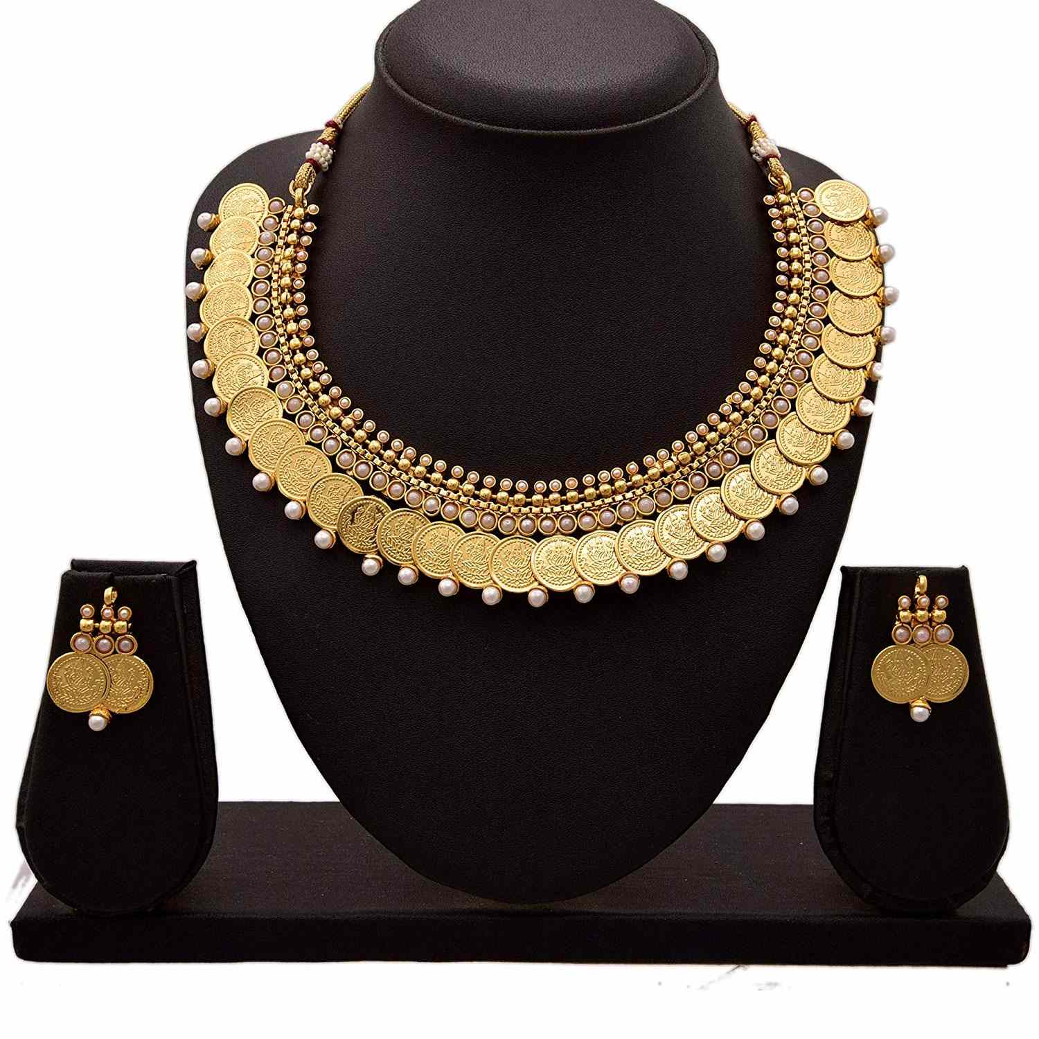 JFL - Traditional Ethnic One Gram Gold Plated Temple Laxmi Goddess Pearls Designer Necklace Set with Earring for Women & Girls.