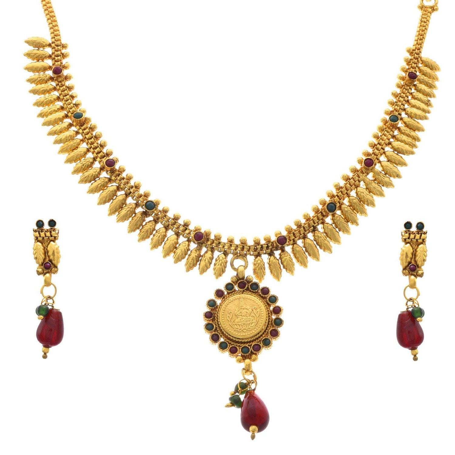 JFL - Traditional Ethnic One Gram Gold Plated Temple Laxmi Goddess Stone Designer Necklace Set with Earring for Women & Girls.