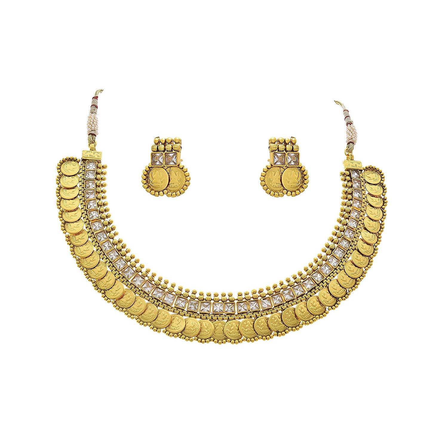 JFL - Traditional Ethnic Temple Laxmi Goddess Coin One Gram Gold Plated Diamond Designer Necklace Set for Women and Girls