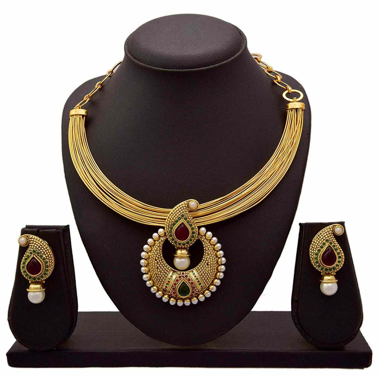 JFL - Traditional, Ethnic ruby Red Green One Gram Gold Plated Designer Kaerie Necklace Set for Women & Girls