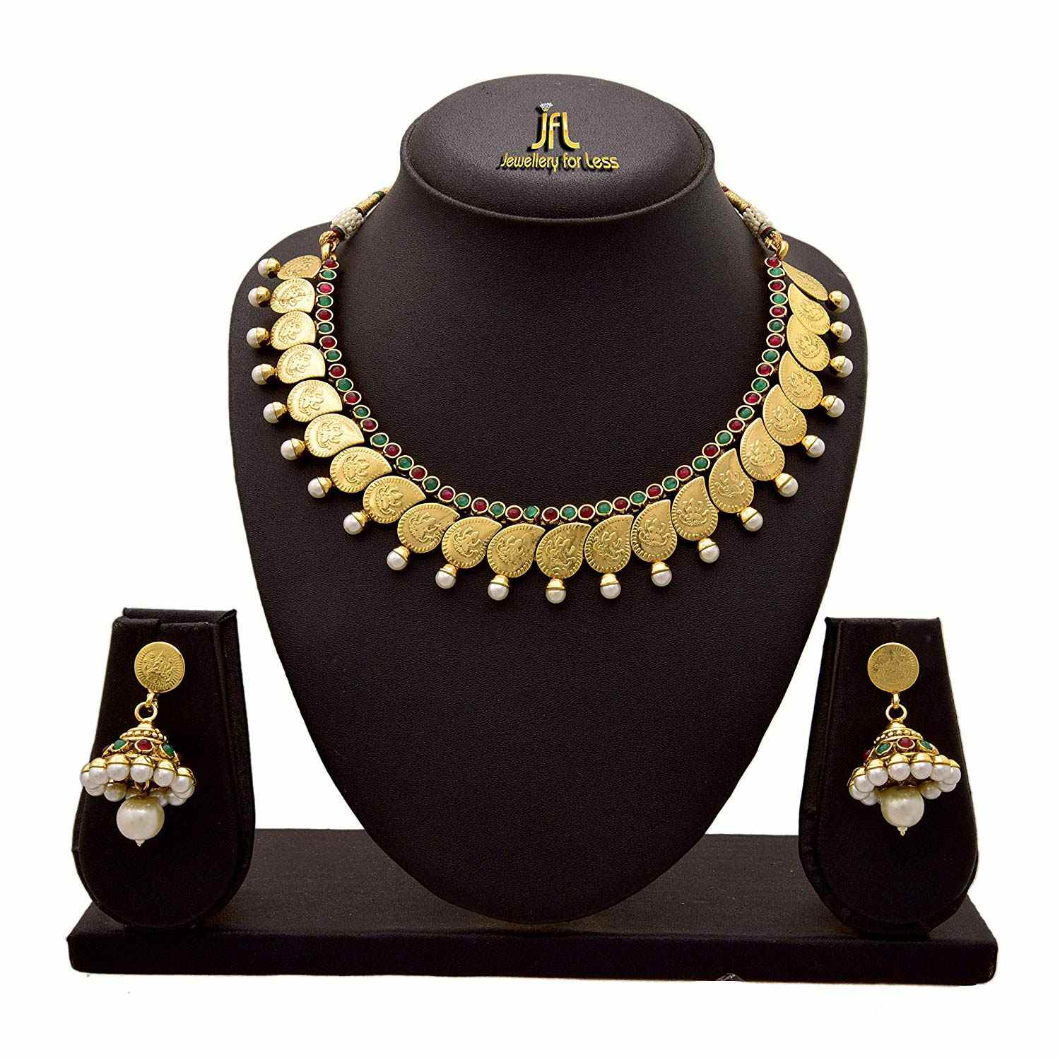 JFL - Traditional Ethnic Temple Laxmi Goddess One Gram Gold Plated Pearl Designer Necklace Set for Women and Girls