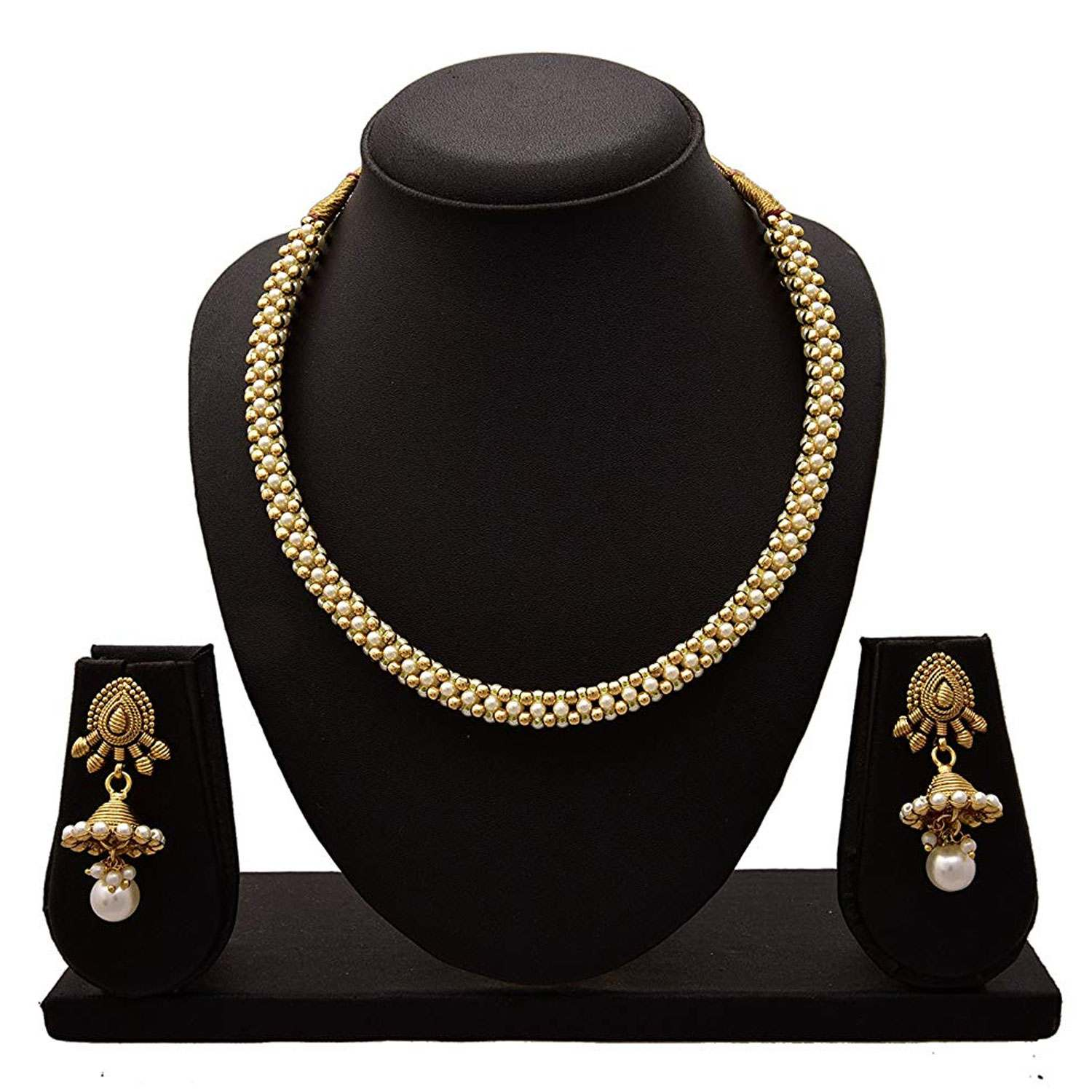 JFL - Traditional Ethnic One Gram Gold Plated Beads Pearl Designer Necklace Set With Jhumka for Women & Girls.