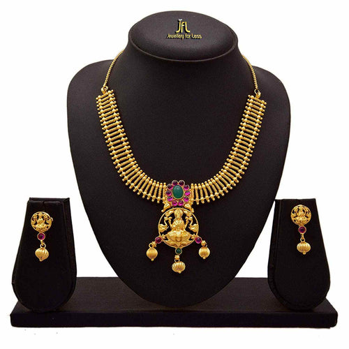 JFL - Traditional Ethnic One Gram Gold Plated Temple Laxmi Goddess Pink & Green Stone Designer Necklace Set for Women & Girls