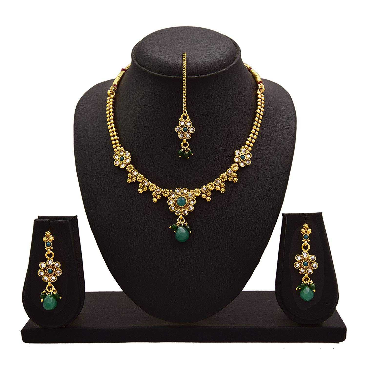 JFL - Jewellery for Less One Gram Gold Plated Green Stone & Diamond Designer Necklace Set For Women
