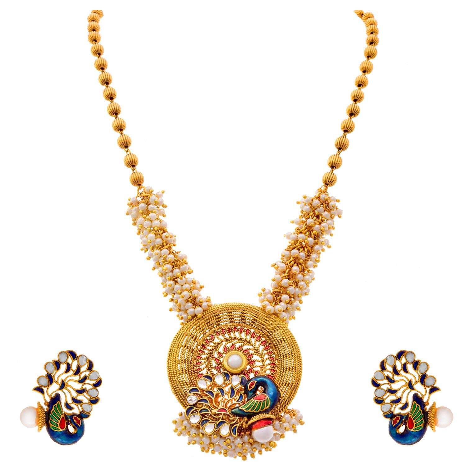 JFL - Traditional Ethnic One Gram Gold Plated Meenakari Peacock Pearls Designer Necklace Set with Earring for Women and Girls.