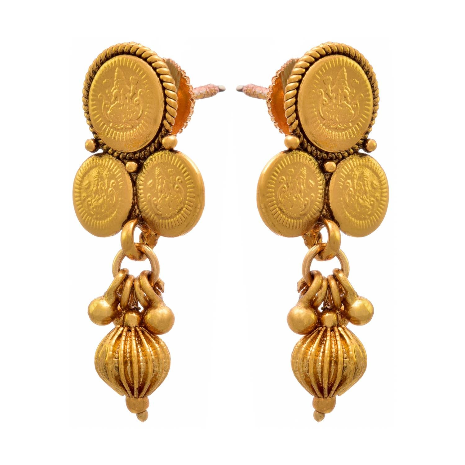 Traditional Ethnic Temple Laxmi Goddess Coin One Gram Gold Plated Designer Necklace Set for Women