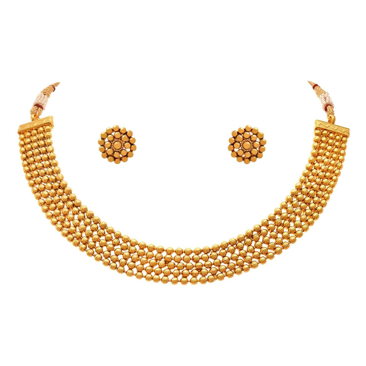 JFL- Jewellery For Less Traditional One Gram Gold Plated Bead Necklace Set With Stud Earrings For Women & Girls