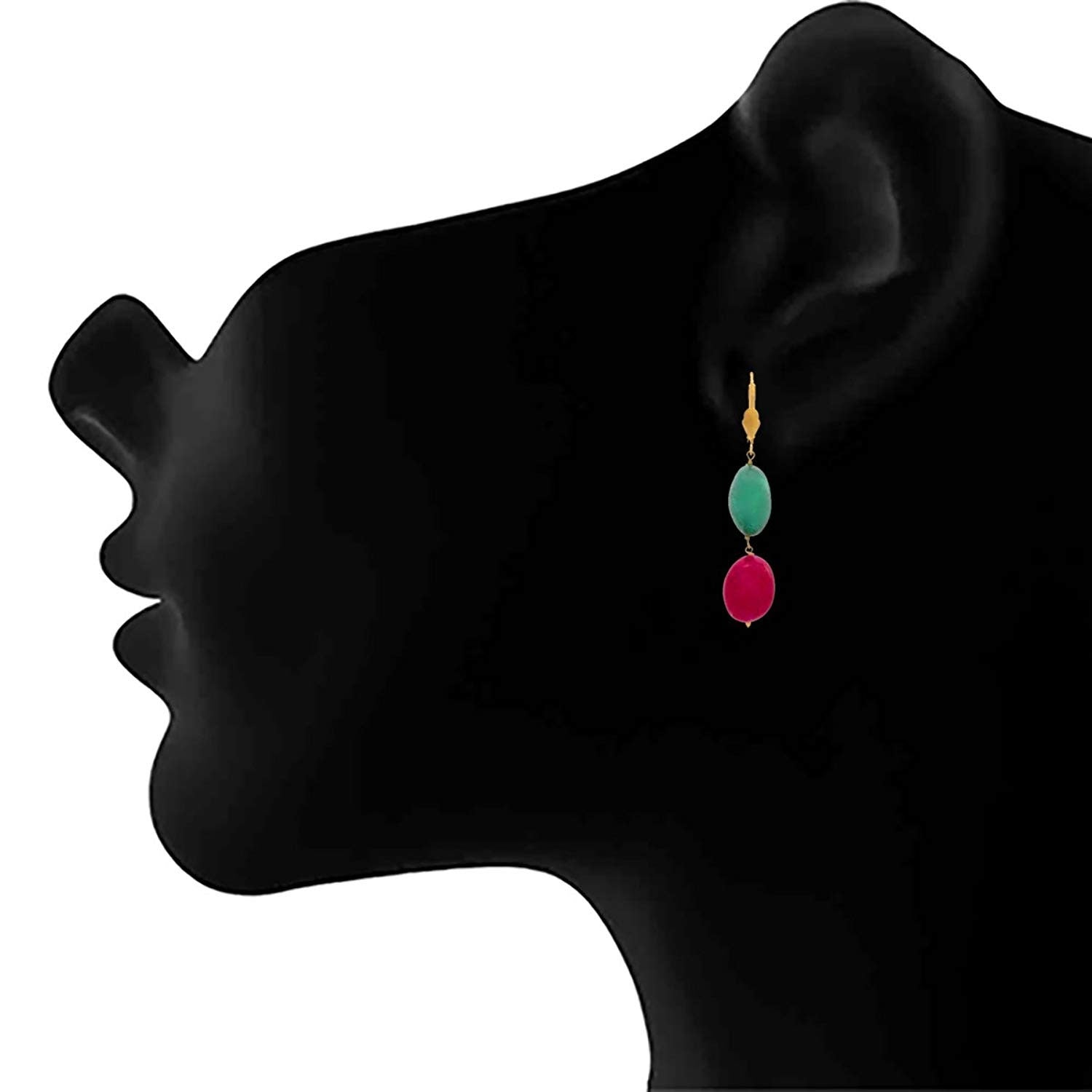 JFL - Traditional Ethnic Natural Pink & Green Stone Designer Necklace Set with Earring for Women and Girls.