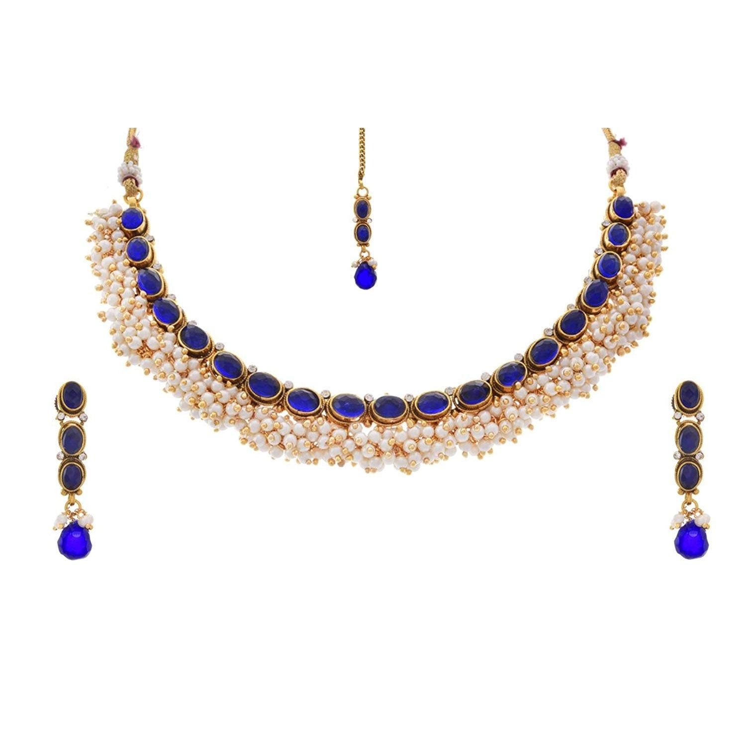 JFL - Traditional & Ethnic One Gram Gold Plated Designer Necklace Set With Earring & Maang Tikka for Women & Girls
